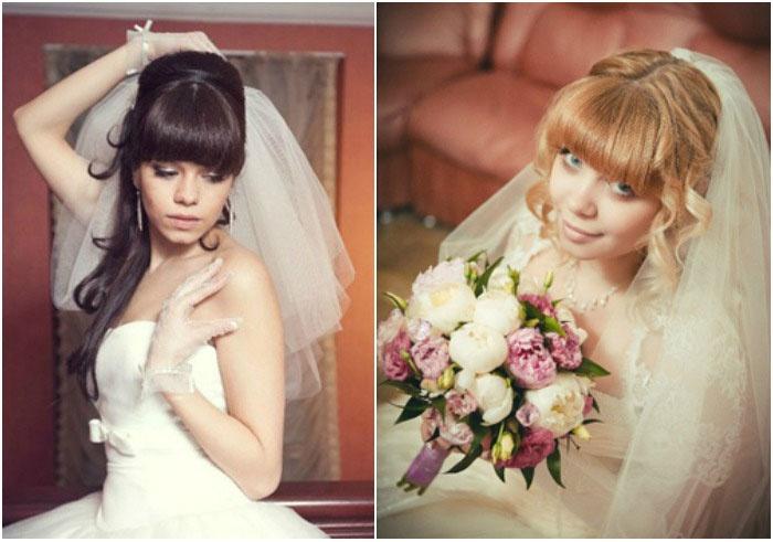 Фото свадебных причесок с цветами и челкой